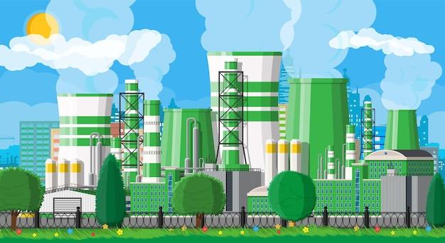 Fabrieksgebouw met bomen, wolken en zon