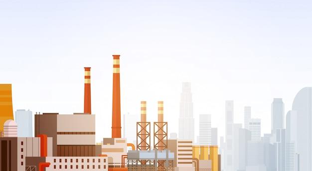 Fabrieksgebouw natuurverontreiniging plant pijpafvalbanner