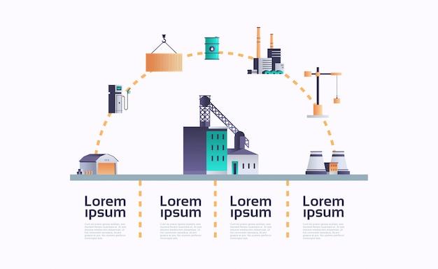 Fabrieksgebouw pictogram infographic sjabloon plant met pijpen en schoorsteen