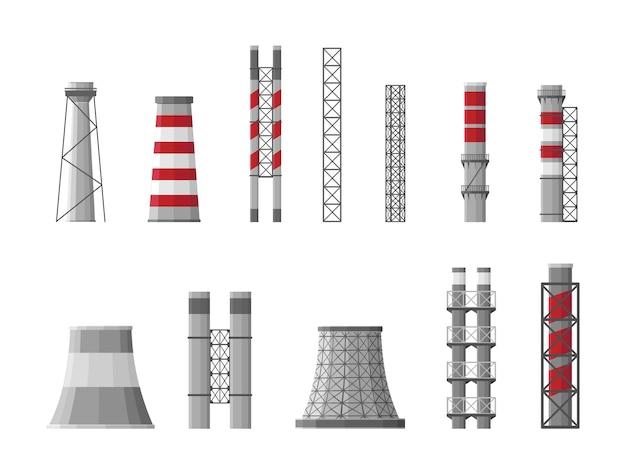 Fabrieksgebouw. productie pijp vervuiling industriële fabriek grote constructie. giftige fabrieken en planten met dampen of smog. vervuilende schoorstenen illustratie.