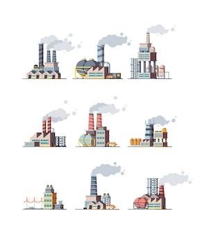 Fabrieksgebouwen. industriële stedelijke energieconstructies met pijpleidingen fabrieksfoto's