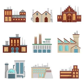 Fabrieksillustraties ingesteld. moderne industriële gebouwen instellen isoleren op wit.