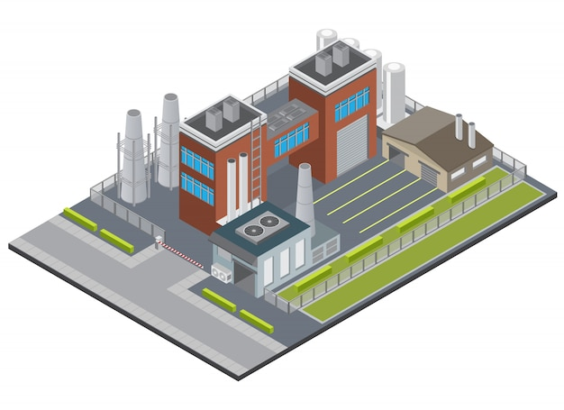 Fabrieksinfrastructuur isometrisch met de schoorsteengarage van ingangs industriële gebouwen op het schermen van 3d grondgebied