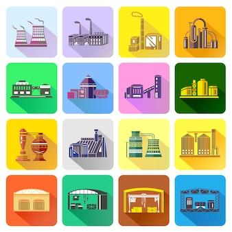 Fabriekspictogrammen in vlakke stijl worden geplaatst die