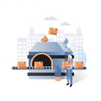 Fabriekstransportband met de vectorillustratie van kartondozen