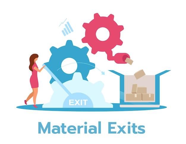 Fabrikant bedrijfsmodel vlakke afbeelding. productie concept. zakenvrouw productieproces controleren. geïsoleerde stripfiguur op witte achtergrond