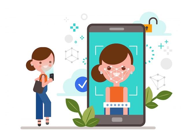 Face id, gezichtsherkenning, biometrische identificatie, mobiele app voor gezichtsherkenningsconcept. vrouw die smartphone gebruikt om haar gezicht te scannen voor persoonlijke verificatie. vlakke stijl illustratie.