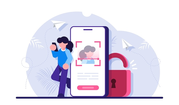 Face id-technologie, biometrische authenticatie, gezichtsherkenningssysteem, informatiebescherming