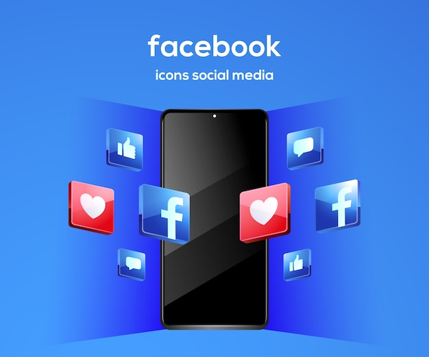 Facebook 3d social media iconen met smartphone-symbool