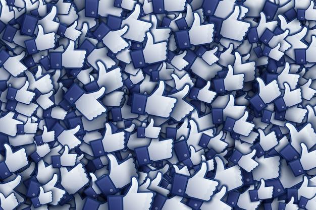 Facebook 3d zoals hand icons art illustration