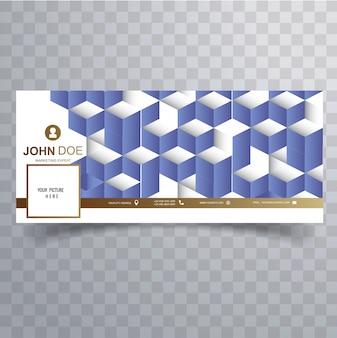 Facebook abstracte 3d blauwe zakelijke omslagsjabloon