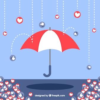 Facebook-achtergrond met hart en als pictogrammen