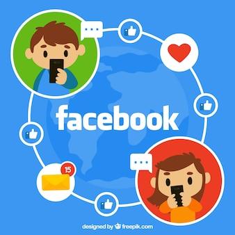 Facebook achtergrond met jongens communiceren