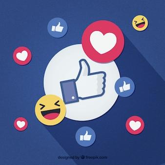 Facebook-achtergrond met likes en harten