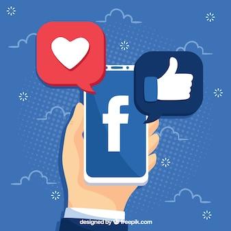 Facebook-achtergrond met mobiele telefoon