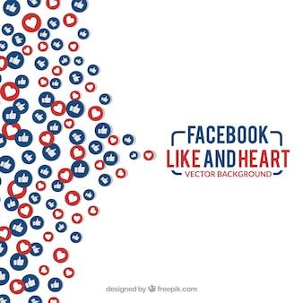Facebook-achtige en hartachtergrond
