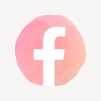 Facebook app icoon vector met een aquarel grafisch effect. 21 juli 2021 - bangkok, thailand