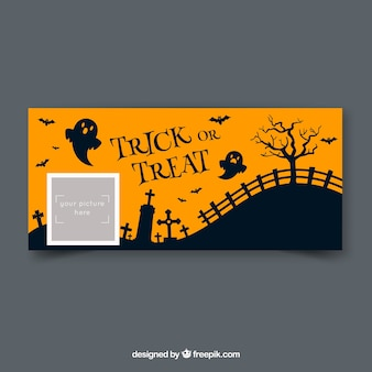 Facebook-banner met halloween ontwerp