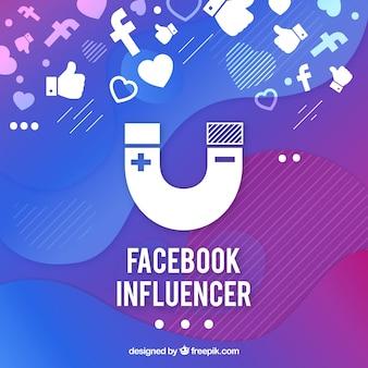 Facebook-beïnvloederachtergrond in gradiëntkleuren