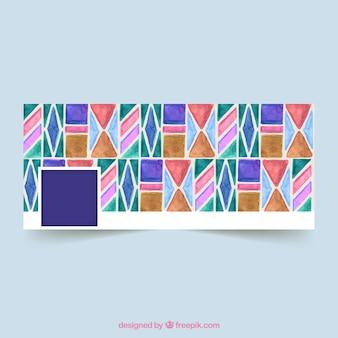 Facebook cover met geometrische aquarelvormen