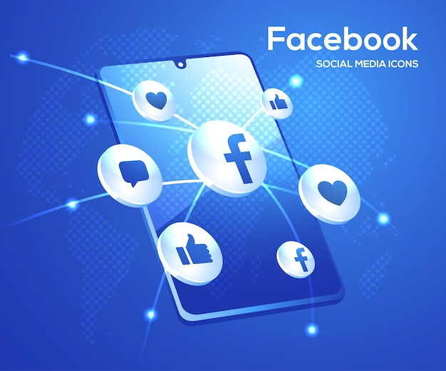 Facebook d social media iconen met smartphone-symbool