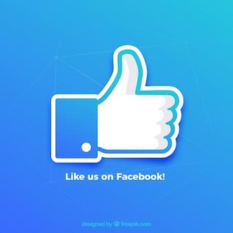 Facebook duim omhoog als achtergrond in gradiëntkleuren