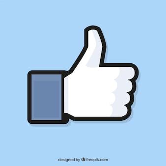 Facebook duim omhoog als achtergrond in vlakke stijl Gratis Vector