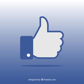 Facebook duim omhoog als achtergrond in vlakke stijl