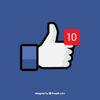 Facebook duim op achtergrond met kennisgeving