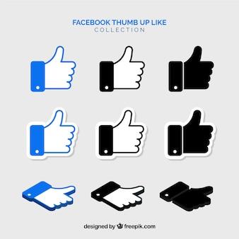 Facebook duimen omhoog als collectie in vlakke stijl
