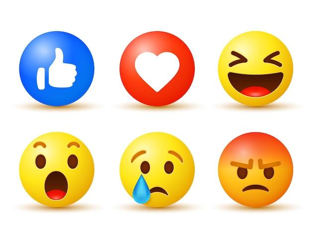 Facebook-emoji-reacties met meldingspictogrammen zoals liefdesmoderne knoppen