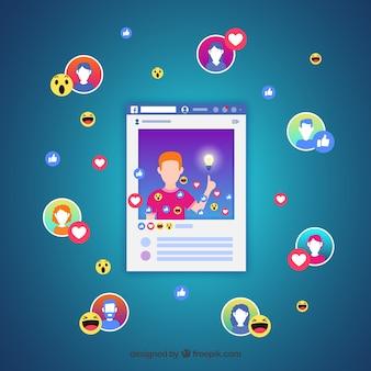 Facebook influencer achtergrond in gradiëntkleuren
