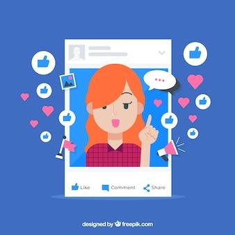 Facebook influencer achtergrond met emoticons