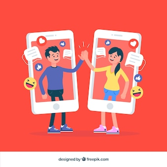 Facebook-interactieachtergrond met mobiele kostuums