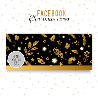 Facebook kerst voorbladsjabloon. gouden elementen op zwarte achtergrond. stilish ontwerp
