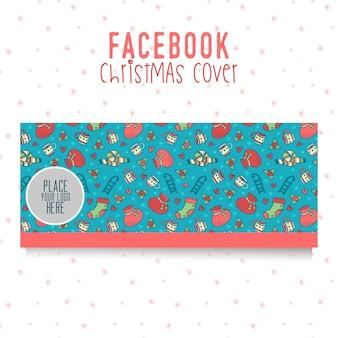 Facebook kerst voorbladsjabloon. mooie oodle-elementen op blauwe achtergrond
