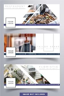 Facebook kleine bedrijven zakelijke kleine bedrijven dekken schoon wit ontwerpsjabloon. foto niet inbegrepen