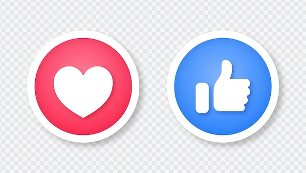 Facebook like en love icon in 3d ronde knop sticker illustratie geïsoleerd