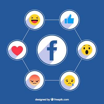 Facebook pictogrammen achtergrond met platte ontwerp