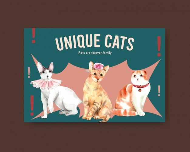 Facebook postsjabloon met schattige katten