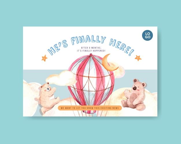 Facebook-sjabloon met baby shower ontwerpconcept voor sociale media en online marketing aquarel vectorillustratie.