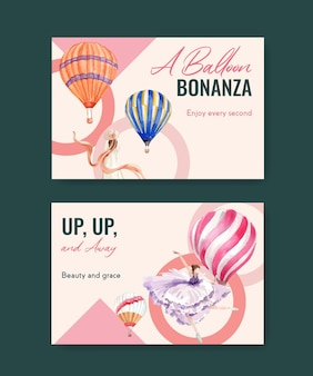 Facebook-sjabloon met ballon fiesta conceptontwerp voor digitale marketing en sociale media aquarel vectorillustratie