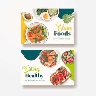 Facebook-sjabloon met concept voor gezond eten, aquarelstijl