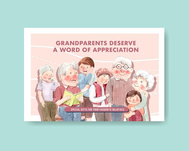 Facebook-sjabloon met conceptontwerp van de nationale grootoudersdag voor sociale media