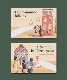 Facebook-sjabloon met italië zomervakantie concept, aquarel stijl