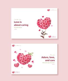 Facebook-sjabloon met liefde bloeiende conceptontwerp voor sociale media en online gemeenschap aquarel illustratie