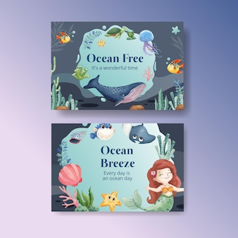 Facebook-sjabloon met oceaan opgetogen concept aquarel stijl
