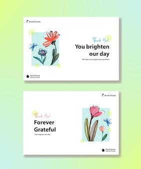 Facebook-sjabloon met penseel bloemen conceptontwerp voor sociale media en gemeenschapswaterverf