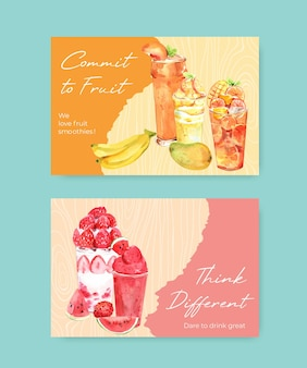 Facebook-sjabloon voor spandoek met fruit smoothies