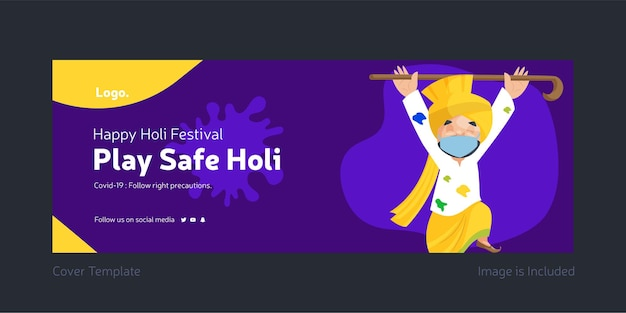 Facebook-voorpagina van holi-festival speel veilig holi-ontwerp